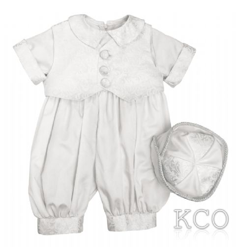 Regal Dupion Romper White~ Boys Suits